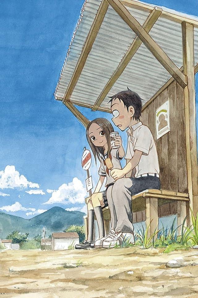 バス停に二人で座ってジュースを西片君に差し出しているからかい上手の高木さんの壁紙