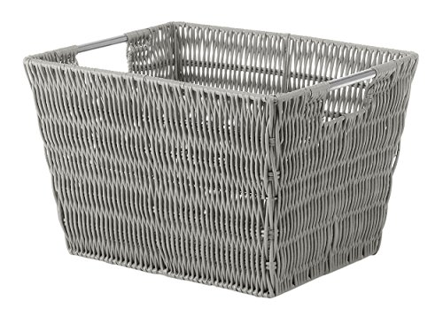 RATTIQUE Shelf Tote Taupe Open Storage Bins Containers Organization Basket Home