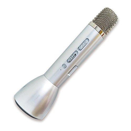 I-O DATA カラオケマイク 家庭用/1人カラオケ/ワイヤレス/スピーカー付/スマホ対応/Bluetooth/シルバー GP-BTMIC1/S