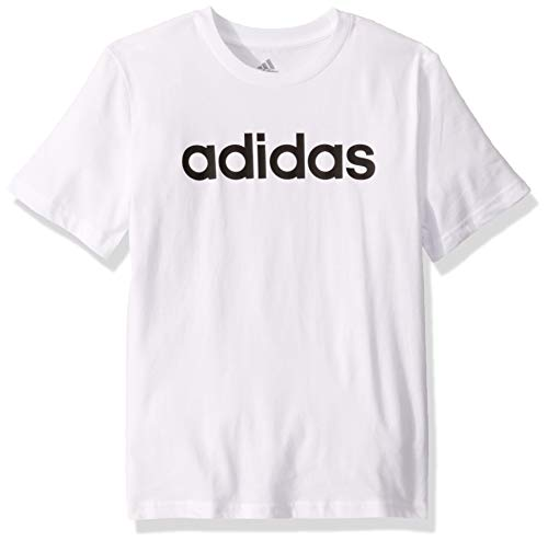 adidas Boys' Big Short Sleeve Cotton Jersey T-Shirt Tee, Linear Logo White, XL (18/20)