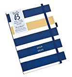 Busy B Mid Year Busy Life Diary August 2019- August 2020 - Navy Stripe with Dual Schedules and Pockets