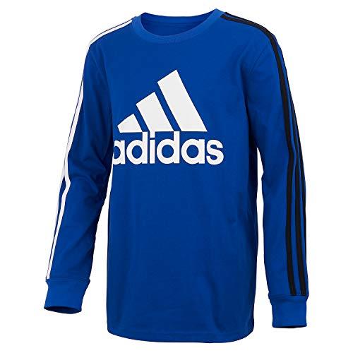 adidas Boys' Long Sleeve Cotton Jersey T-Shirt Tee, BoS Stripe Royal Blue, Medium
