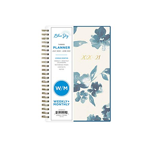 Blue Sky 2020-2021 Academic Year Weekly /& Monthly Planner Bakah Blue 8.5 x 11 Twin-Wire Binding Frosted Flexible Cover