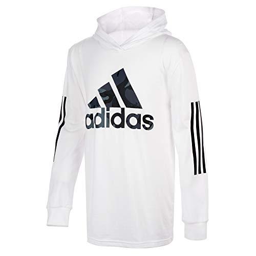 adidas Kids Boys' Long Sleeve Cotton Jersey Hooded T-Shirt Tee, White, MD (10/12 Big Kids)