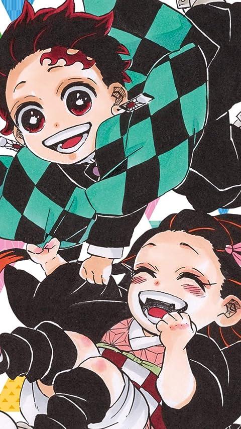 鬼滅の刃 竈門禰豆子,竈門炭治郎のデフォルメ XFVGA(480×854)壁紙画像