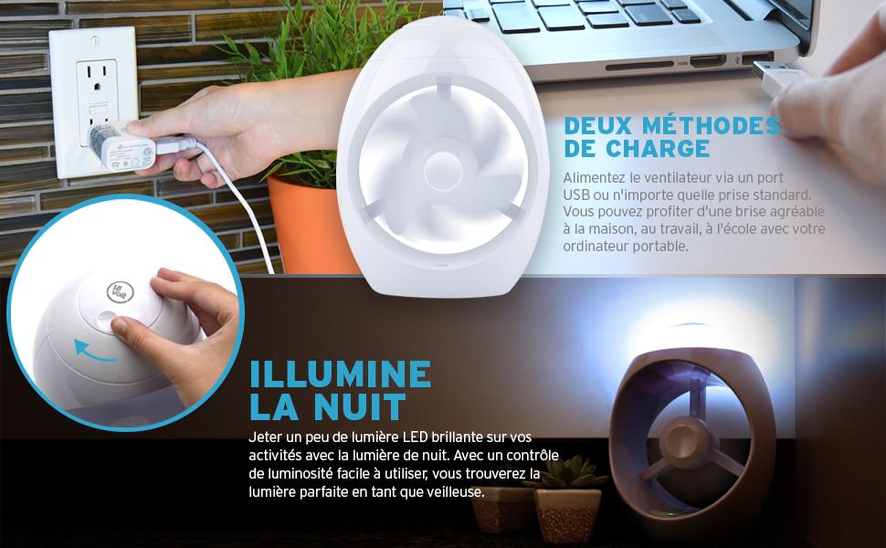 Lěvoit mini ventilateur usb et veilleuse led reglable ventilateur