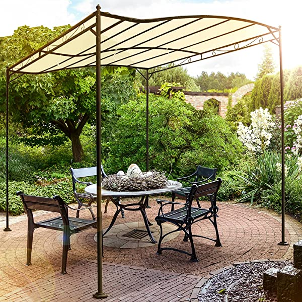 miadomodo pergola tonnelle de jardin beige en m tal avec toile polyester rev tement. Black Bedroom Furniture Sets. Home Design Ideas