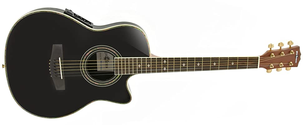 guitare lectro acoustique roundback par gear4music black. Black Bedroom Furniture Sets. Home Design Ideas