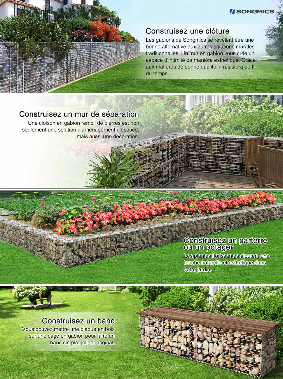 Songmics gabion 100 x 50 x 30 cm m talliques d co jardin for Decoration jardin gabion