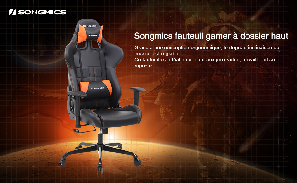Songmics chaise de bureau gamer 124 132 cm siège gaming dossier