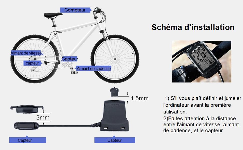 suaoki 2 4g transmission compteur de v lo sans fil avec cadence compteur de vitesse v lo. Black Bedroom Furniture Sets. Home Design Ideas