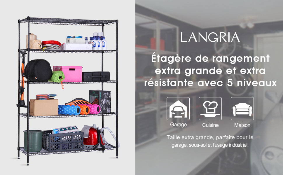 Langria etag re de rangement en m tal avec 5 tablettes en for Rangement metallique pour garage