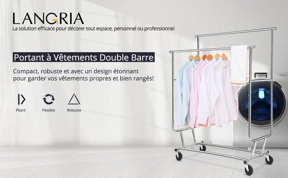 LANGRIA Portant Vêtements Barres Extensibles Rangement DAppoint - Portant vetement professionnel charge lourde
