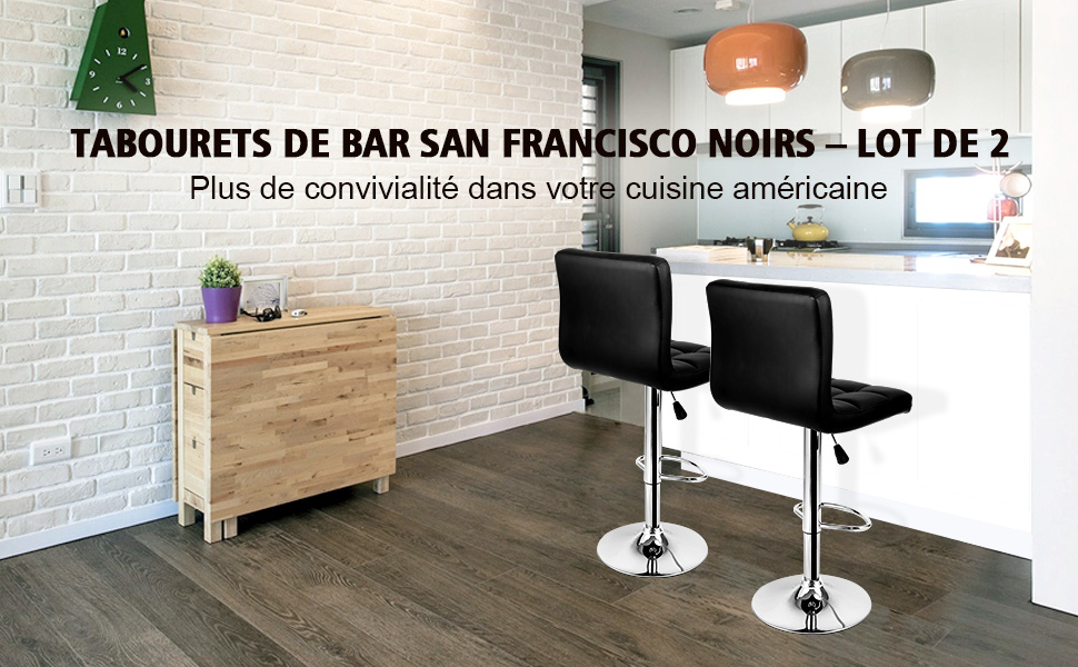 Langria lot de 2 tabourets de bar san francisco en - Amazon tabouret de bar ...