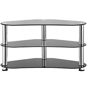 Vonhaus Black Tempered Glass Tv Stand Corner Unit With Silver Legs