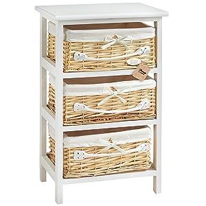 VonHaus 3 Wicker Basket Storage Bathroom Cabinet Drawers Unit   White
