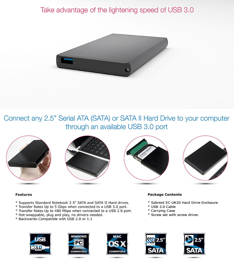 Sabrent Ultra Slim Usb 30 To 25 Inch Sata External Aluminum Hard Seagate Backup Plus Hdd Eksternal 25ampquot 1tb Usb30 Free Pouch Pen Take Advantage Of The Lightening Speed Quickly Transfer Files Up 5 Gbps Connect Any Serial Ata Or Ii Drive Your