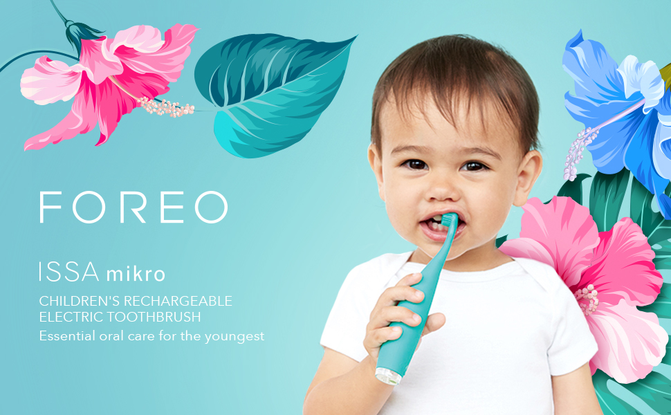 The rechargeable ISSA mikro is the only baby electric toothbrush combining  silicone bristles with gentle sonic pulsations a41d41c21e078