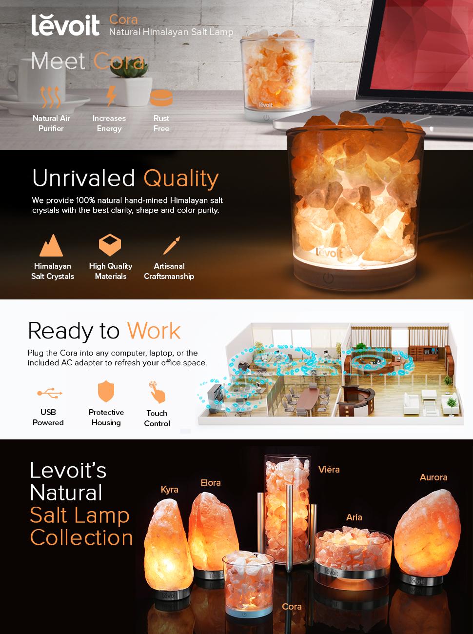 Levoit Cora Himalayan Salt Lamp, Portable Natural Crystal Rock ...