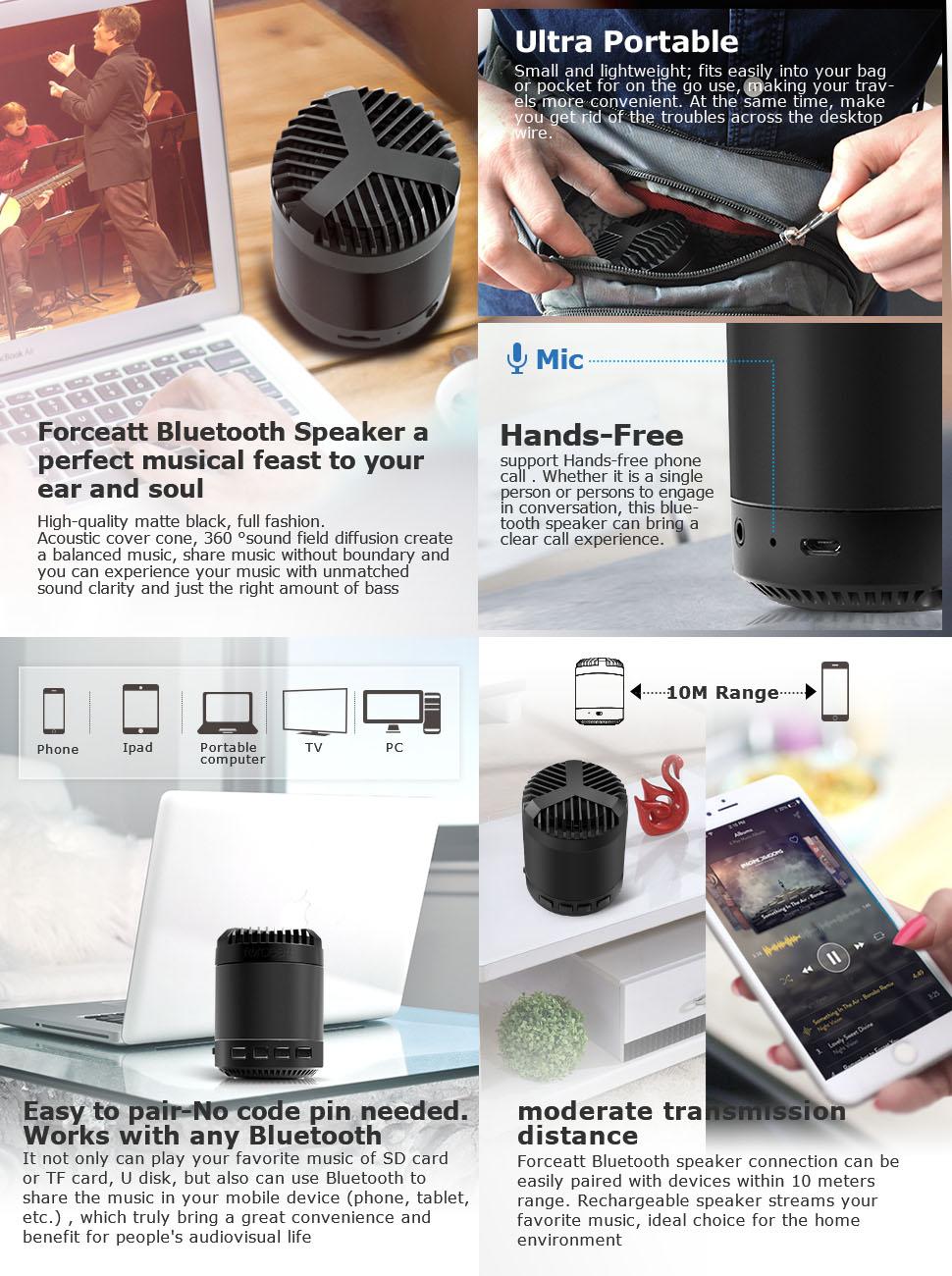Forceatt Portable Bluetooth Speaker With Low Harmonic Mdisk Headset Super Boom J278 Product Description