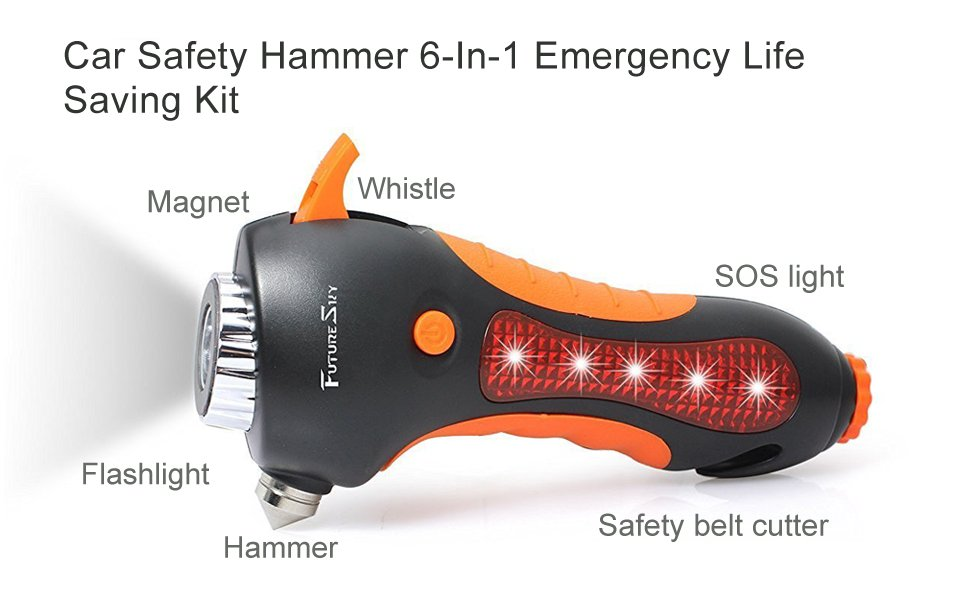 Futuresky Car Safety Hammer 6 In 1 Emergency Life Saving