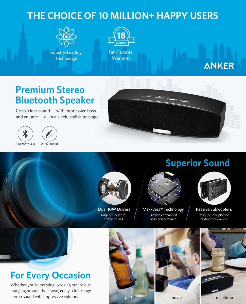 Anker Bluetooth Speaker Fm Radio Bluetooth Usb Cable Replacement Ihealth Blood Pressure Monitor Troubleshooting Lg Bluetooth Headset For Phone: Anker Stereo Wireless Bluetooth 4.0 Speaker (A3143