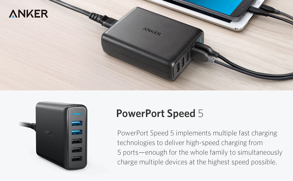 Anker Powerport+ 5 Qualcomm Quick Charge 3.0 Incarcator de retea rapid si sigur