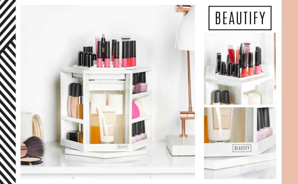 beautify 360176 rotating makeup cosmetic storage organiser