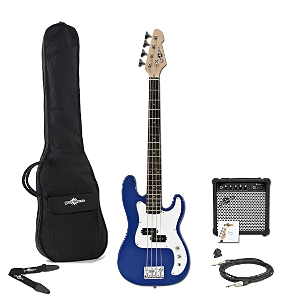 3 4 la bass guitar 15w amp pack blue musical instruments. Black Bedroom Furniture Sets. Home Design Ideas