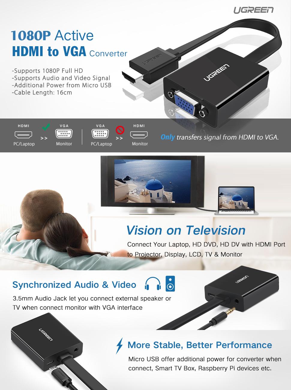 HDMI to VGA Adapter, UGREEN 1080P Active HDMI to VGA Converter with ...