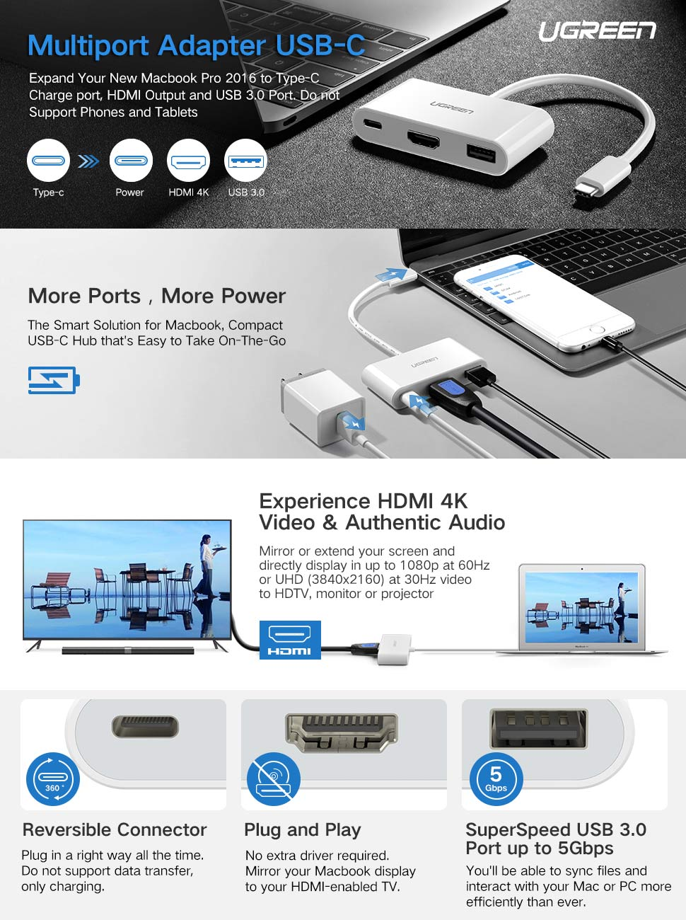 UGREEN 30377, Cable Adapter USB Type C, HDMI, USB 3.0 A, USB c, Male ...