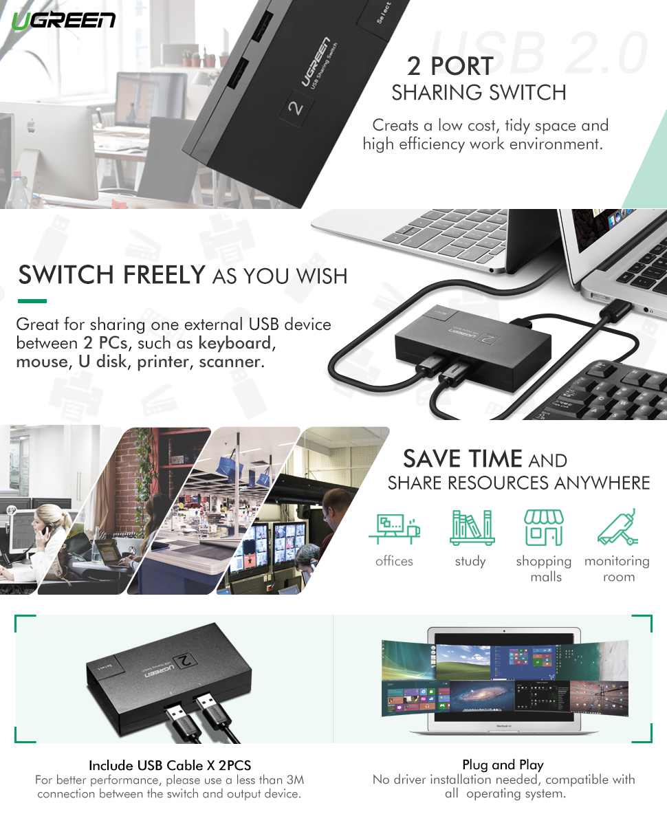 UGREEN USB Switch 2 Port Scanner Printer Share Switcher