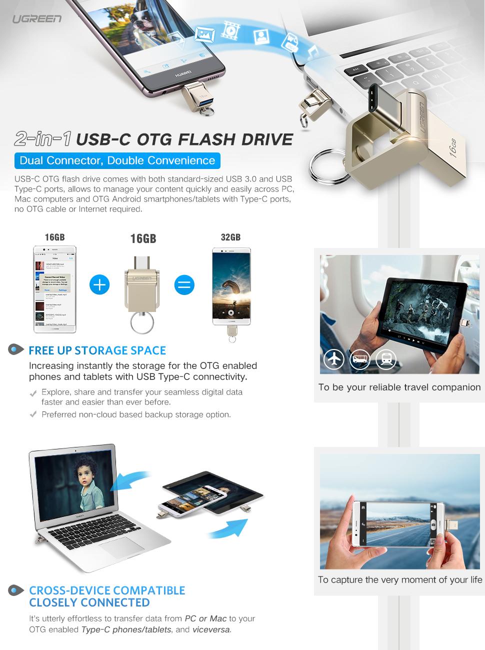 Ugreen Type C Memory Stick 16g 2 In 1 Usb And A Sandisk Ultra Dual Drive Otg Flashdisk 32 Gb 30 Flash 31 Data Storage