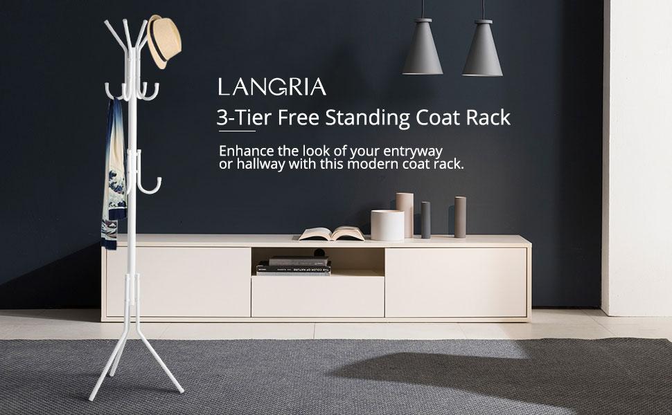 LANGRIA 3 Tier 11 Hook Free Standing Coat and Hat Rack for ...