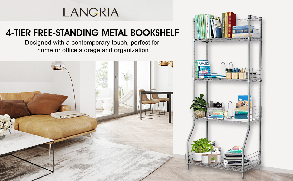 Getting the stuff in right order helps you save more space and make you  happier. LANGRIA's 4-tier wire bookshelf rack is your assistant to get your  books ... - LANGRIA 4-Tier Wire Bookcase Metal Shelving For Home Organisation