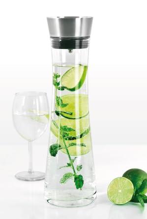 bremermann glaskaraffe 1 liter mit praktischem edelstahlausgie er k che haushalt. Black Bedroom Furniture Sets. Home Design Ideas