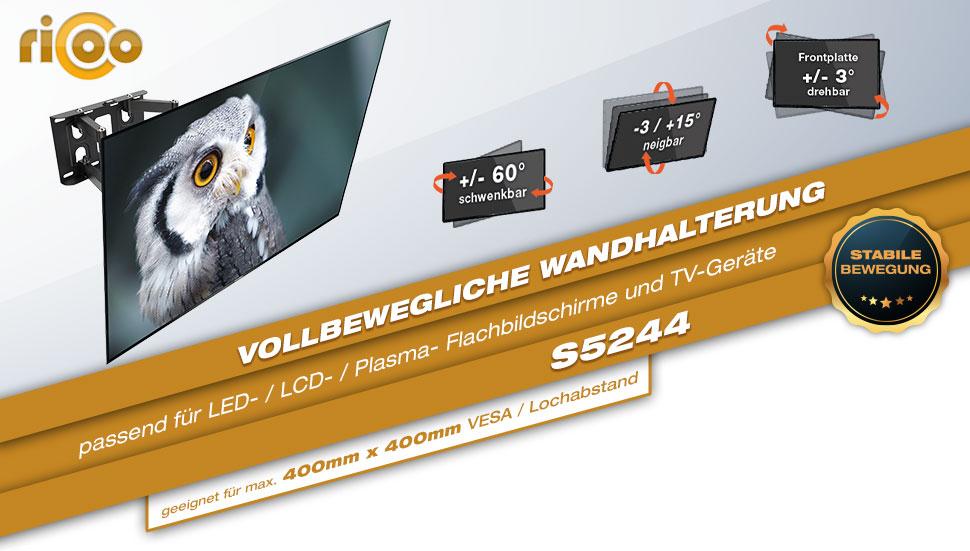 Ricoo wandhalterung tv schwenkbar neigbar s5244 - Flachbildfernseher wandmontage ...