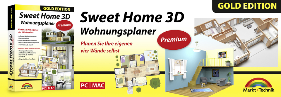 sweet home 3d wohnungsplaner premium edition mit zus tzlichen 3d modelle und gedrucktem. Black Bedroom Furniture Sets. Home Design Ideas