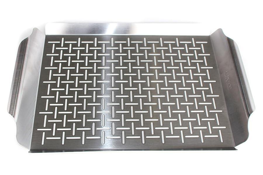santos edelstahl grillschale mit griffen ca 44 x 30 x 3 5 cm grillpfanne grillkorb mit. Black Bedroom Furniture Sets. Home Design Ideas