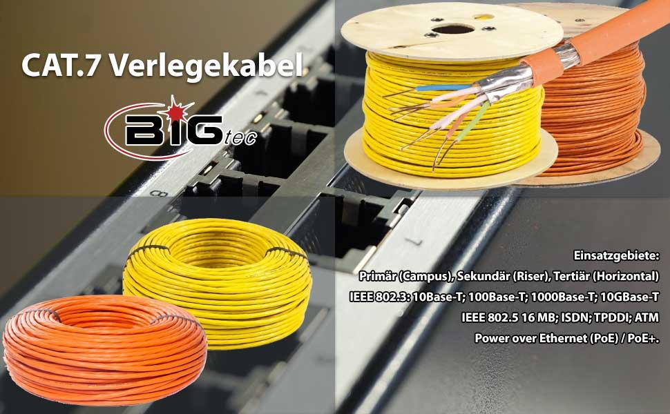 bigtec 100m cat 7 verlegekabel gigabit 10gbit. Black Bedroom Furniture Sets. Home Design Ideas