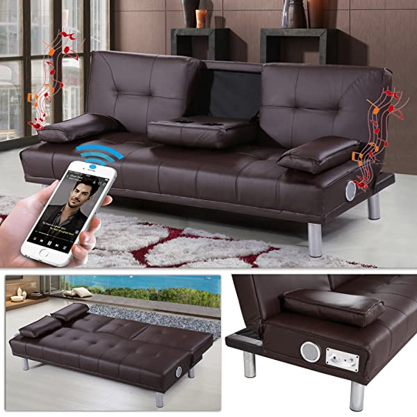 new manhattan funktionssofa m bluetooth braun schlafsofa sofa kunstleder bettsofa couch amazon. Black Bedroom Furniture Sets. Home Design Ideas