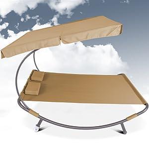 miadomodo doppelliege sonnenliege mit sonnendach braun gartenliege f r bis zu 2. Black Bedroom Furniture Sets. Home Design Ideas