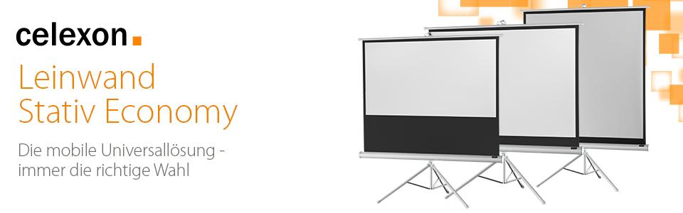 celexon mobile stativ leinwand mit vormontiertem st nder economy wei 133 x 100 cm 4 3. Black Bedroom Furniture Sets. Home Design Ideas