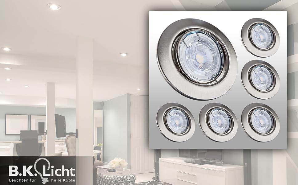 led einbaustrahler dimmbar schwenkbar inkl 6 x 5w 230v. Black Bedroom Furniture Sets. Home Design Ideas