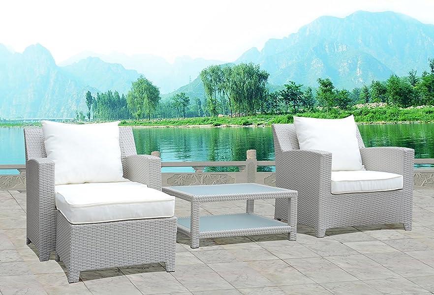Design Gartenmöbel Lounge Sitzgruppe Polyrattan 2 x Sessel, 1 x ...