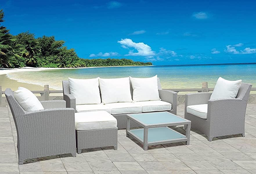 design luxus gartenm bel lounge sitzgruppe polyrattan 1 x 3er sofa 2 x sessel 1 x hocker. Black Bedroom Furniture Sets. Home Design Ideas