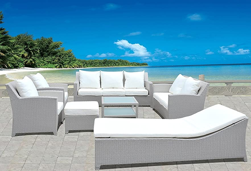Design Gartenmöbel Lounge Sitzgruppe Polyrattan aus Doppelsofa, 3er ...