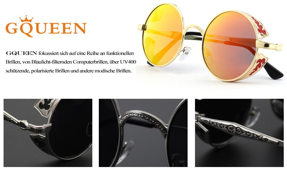 GQUEEN Retro Runde Steampunk Polarisierte Sonnenbrille MTS1 DCj3pbiNa