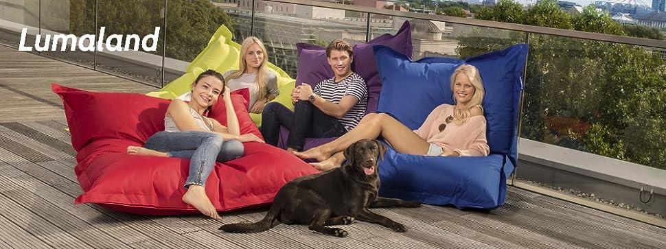 lumaland luxury riesensitzsack xxl sitzsack 380l f llung 140 x 180 cm indoor outdoor. Black Bedroom Furniture Sets. Home Design Ideas