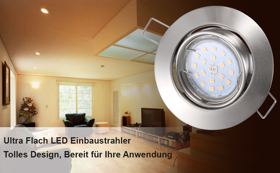 liqoo 6x led einbaustrahler gu10 6w einbauspots wei schwenkbar ersetzt 40w 2800k warmwei 30. Black Bedroom Furniture Sets. Home Design Ideas
